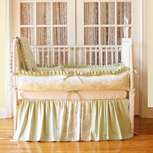 Central Park Sage Toile 3 Piece Crib Bedding Set