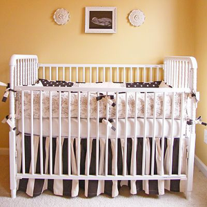 Chocolate Toile 3 Piece Crib Bedding Set