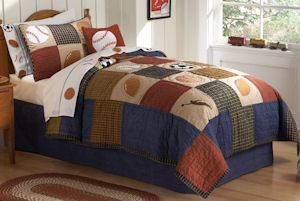 Classic Sports Boys Twin Quilt and Pillow Sham