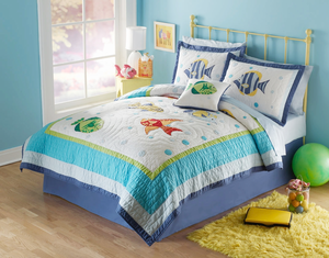 Colorful Sea Full/Queen Quilt with 2 Pillow Shams -