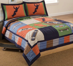Cool Skate  Boys Twin Quilt with Pillow Sham