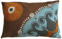 Coptic Print and Crewel Embroidery Aqua/Orange Pillow 13x20