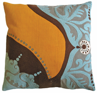 Coptic Print and Crewel Embroidery Aqua/Orange Pillow 18x18