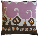 Coptic Print and Crewel Embroidery Pillow 26x26