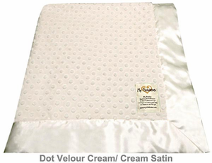 Cream Dot Velour Baby Blanket by My Blankee
