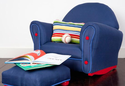 Denim Upholstered Rocker with Slip Cover