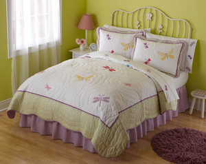 Dragonfly Butterfly Twin Quilt with Pillow Sham