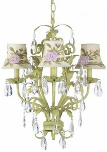 Emma Jean Pink and Green Floral Kids Chandelier