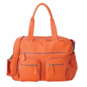 Faux Buffalo Carry All Diaper Bag in Tangerine