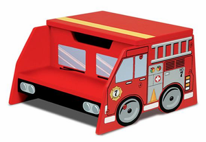 Firetruck Kids Step 'N Store Stool