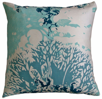 Habitat Navy and Aqua Printed Pillow, 18x18