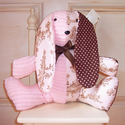 Hush a Bye Pink and Chocolate Toile Plush Stuffed Bunny