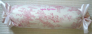 Isabella Pink Toile Tootsie Roll Pillow