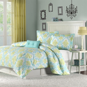 Katelyn Turquoise Blue Damask Comforter Set