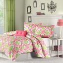 Katelyn Coral and Green Damask Comforter Set