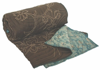 Koko Willow Blue and Coffee Silk Jaquard Coverlet Throw 60 x 60