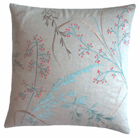 Koko Willow Embroidered Linen Pillow 20x20
