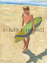 Little Surfer Boy Canvas Print Wall Art 18 x 24
