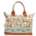 Marni Duffle Bag with Ribbon in Turquoise Fern Flower