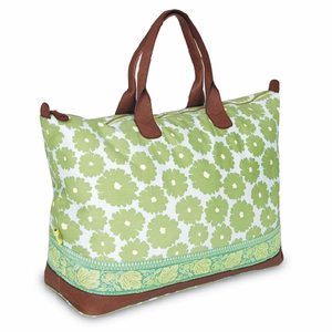 Meris Duffle Bag with Ribbom in Poppies Green