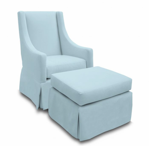 Microsuede Sky Blue Luxe Glider Rocking Chair by Jennifer DeLonge