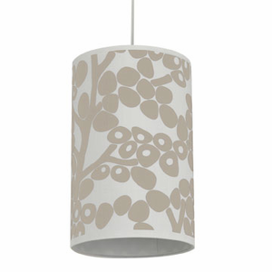 Modern Berries in Taupe Cylinder Pendant Light