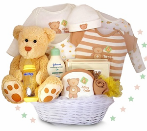 """My First Teddy Bear"" Deluxe Baby Gift Basket"