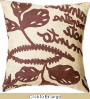 Natura Crewel Wool Embroidery Pillow in Brown 20 x 20