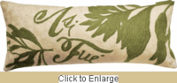 Natura Crewel Wool Embroidery Pillow in Olive 10 x 25