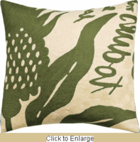 Natura Crewel Wool Embroidery Pillow in Olive 18 x 18