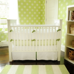 New Arrivals White Pique with Green Trim Custom Crib Bedding Set
