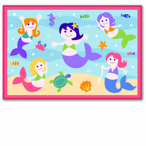 Olive Kids Mermaids Printed Bedroom Rug