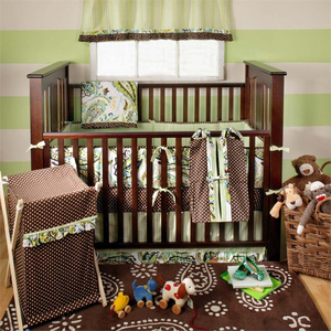 Paisley Splash in Lime 3 Piece Crib Bedding Set