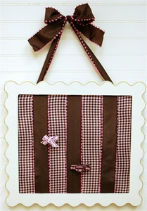 Pink and Chocolate Gingham Barrette Holder
