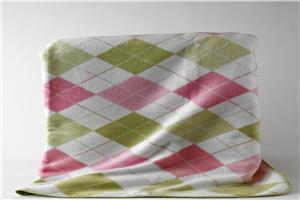 Pink and Green Argyle Kashmina Blanket  and Throw