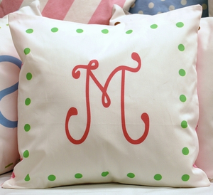 Pink and Green Monogrammed Pillow by New Arrivals Inc.