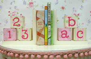 Pink and Green Wooden Bookends