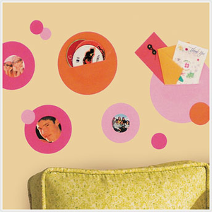 Pink and Orange Dot Wall Pocket Wall Decals for Kids