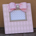 Pink and Taupe Damask Embellished Picture Frame