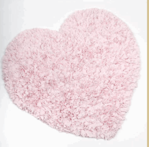 Pink Heart Shaped Shag Rug