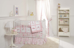Pink Pagoda 3 Piece Girls Crib Bedding by Whistle and Wink
