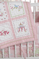 Pink Pagoda Baby Crib Quilt
