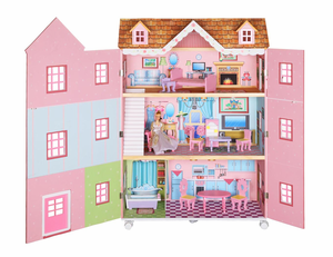 Pink Parisian Mansion Wooden Doll House by Teamson Designs