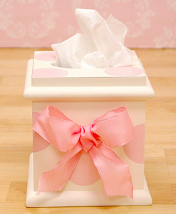 Pink Polka Dot Hand Painted Tissue Box Holder