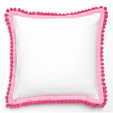 Pink Pom Pom Decorative Pillow by Whistle and Wink