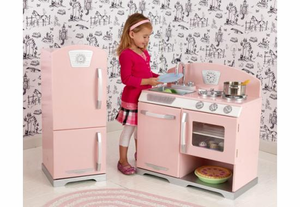 Pink Retro Kids Play Kitchen - currently on backorder