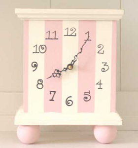 Pink Striped Table Top Clock