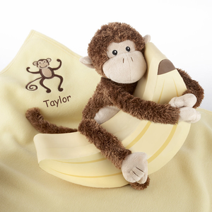 "Plush �Monkey Magoo and Blankie Too!"" in Keepsake Banana Gift Box"