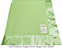 Sage Green Dot Velour Baby Blanket by My Blankee