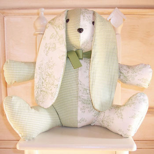 Sage Toile Minky Plush Stuffed Bunny